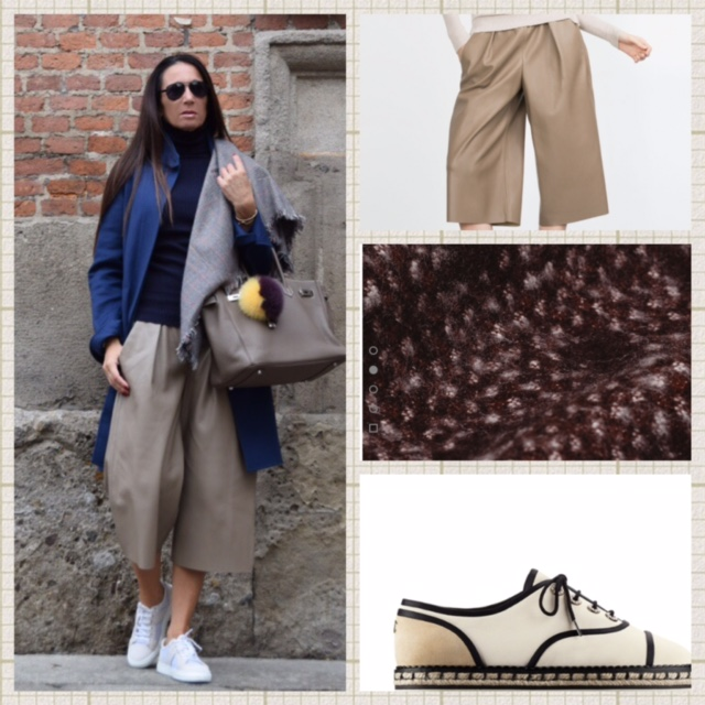 Culottes by Zara available in beige and black.29,90euros(faux leather).Combined with a Jacquard scarf also by Zara.Loropinana coat and Chanel lace-up Cruise collection 2016