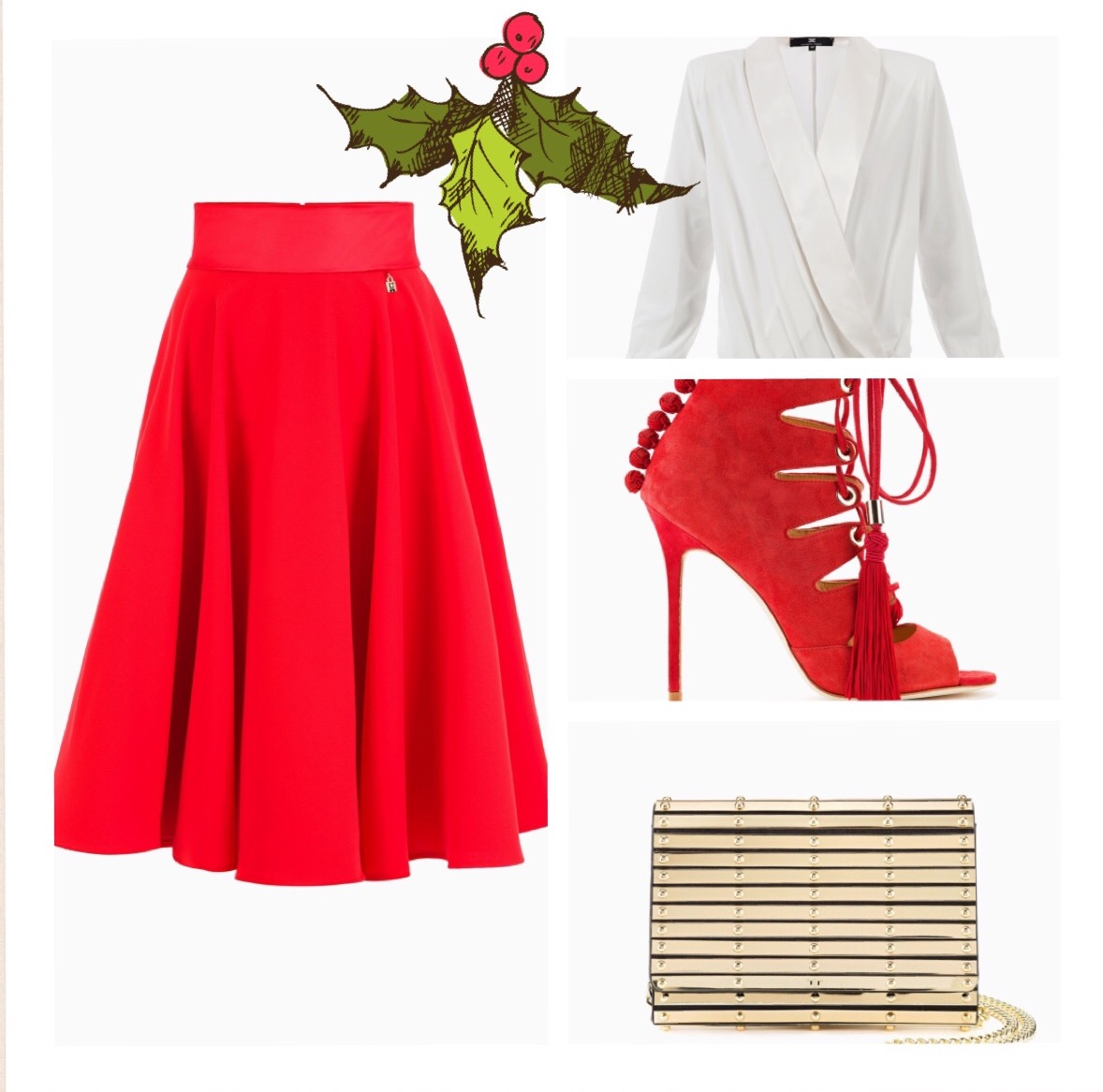 Crepe circle skirt , A must-have garment for the woman who loves flaunting her femininity. Laced sandals. The laces are braided around the foot to enhance its femininity. Complete the outfit this splendid faux leather clutch bag comes directly from the runway.