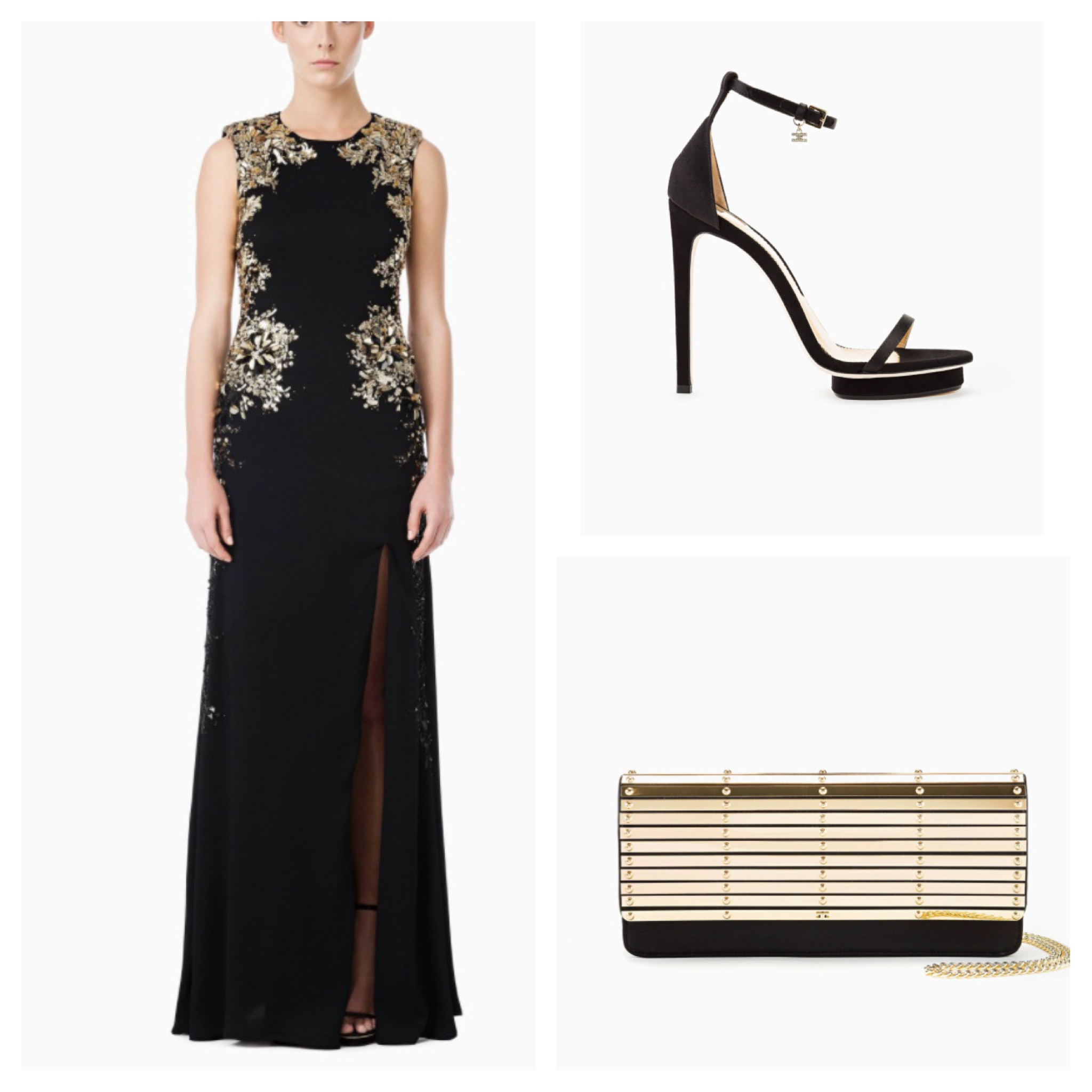 A total black long dress that brings out grace and beauty, where gold details are the main features.