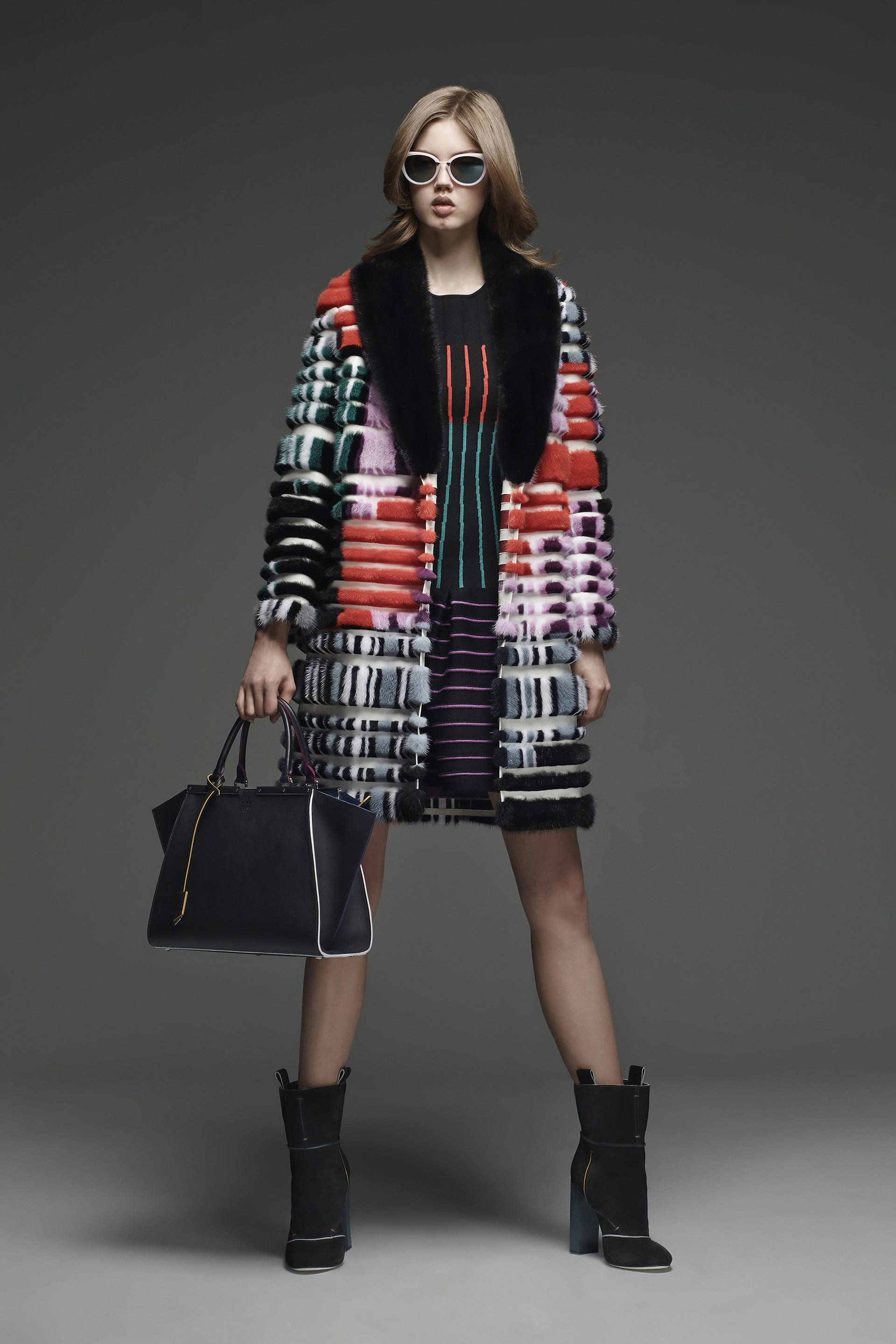 Multicolor mink fur coat with a striped inlaid pattern.   By Fendi pre-fall 2015