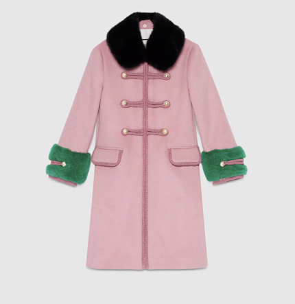 Gucci Coat:a decorative toggle coat in wool with contrast fur details.