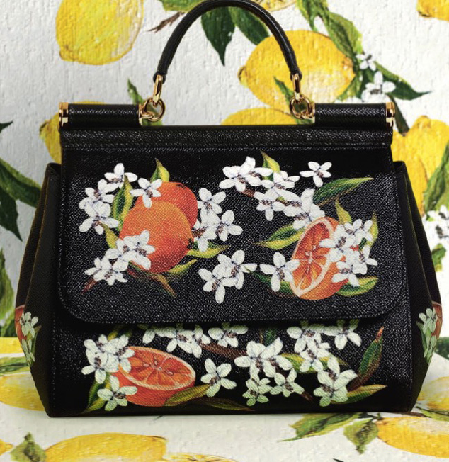Handbag from the Sicily line also here Sicilian summer represented with its flowers and agrumes.
